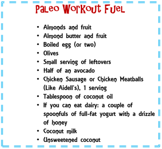 paleo workout fuel
